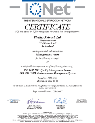 International Certificate ISO 9001 and 14001